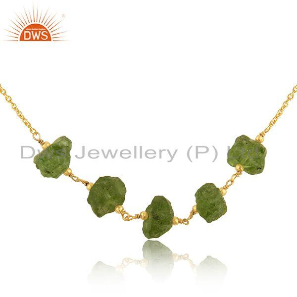 Exporter Natural Peridot Gemstone Designer Gold Plated Silver Necklace