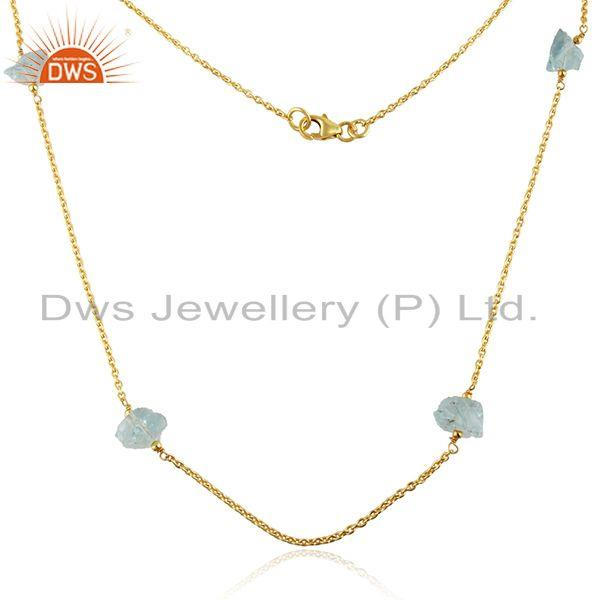 Exporter Aqua Chalcedony Gemstone Womens Gold Plated 925 Silver Necklace