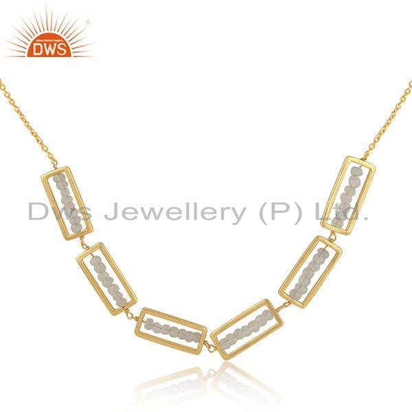 Beaded rainbow moonstone frame design gold plated silver necklace