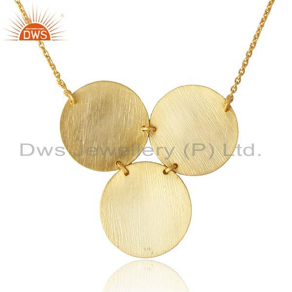 Geometric designer 18k gold plated 925 plain silver necklace jewelry