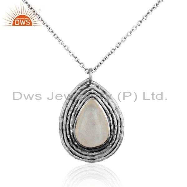 Pear shape oxidized 925 silver rainbow moonstone gemstone necklace