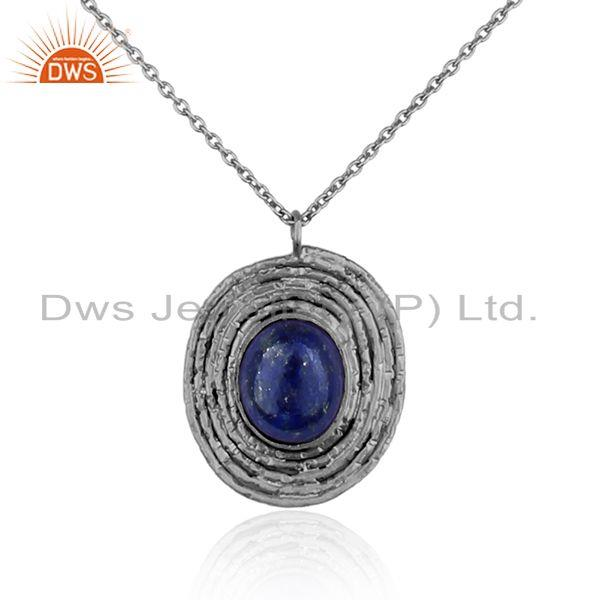 Lapis lazuli gemstone designer oxidized 925 silver chain necklaces