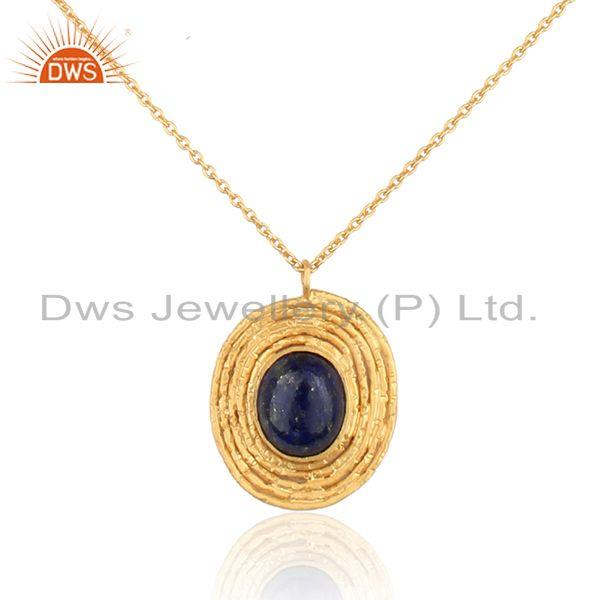 Lapis lazuli gemstone handmade yellow gold plated silver necklace