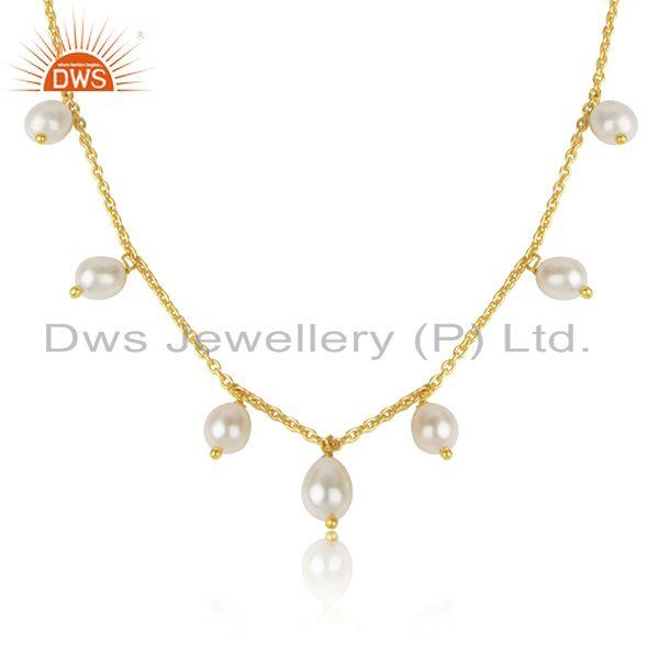 Natural pearl beaded gemstone gold plated 925 silver necklaces