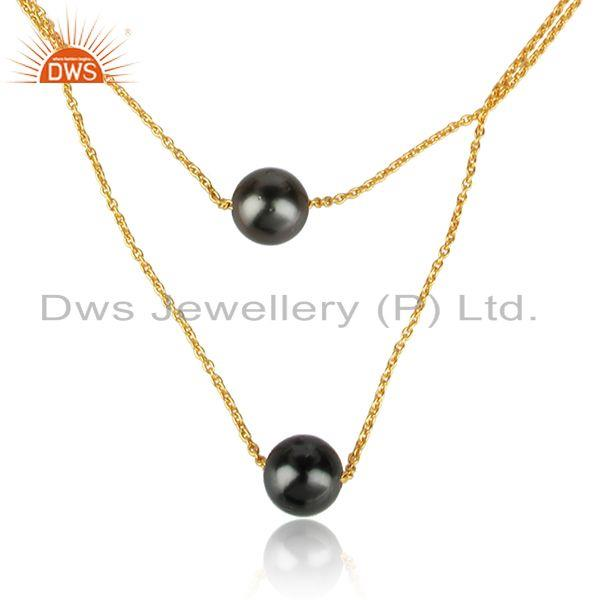 Gray pearl gemstone designer 18k gold plated silver chain necklace