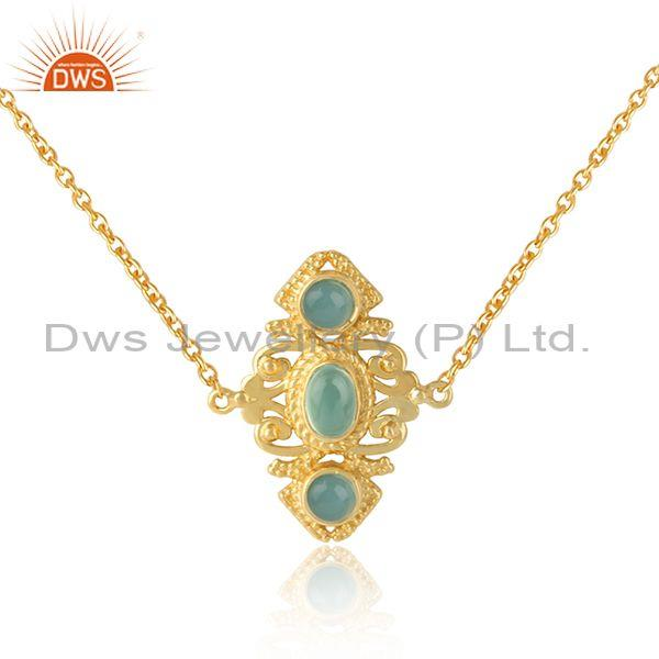 Boho Style Aqua Chalcedony Necklace in Gold On Silver 925 Wholesale