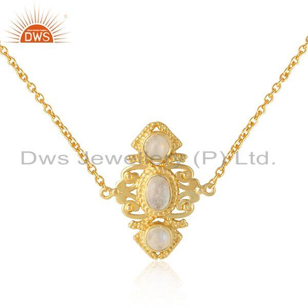 Boho Necklace in Yellow Gold On Silver 925 and Rainbow Moonstone Wholesale