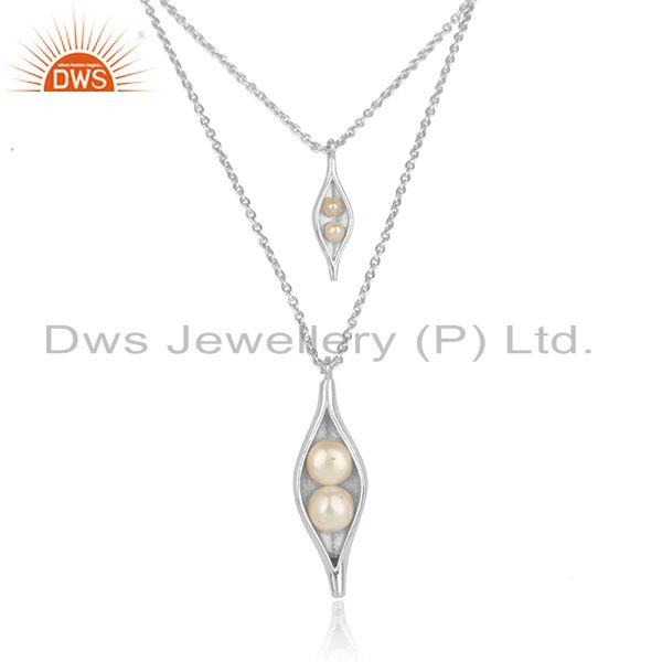Multi row seedpod necklace in solid silver 925 with natural pearl