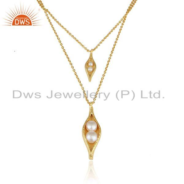 Multi row seedpod pearl necklace in yellow gold on silver 925