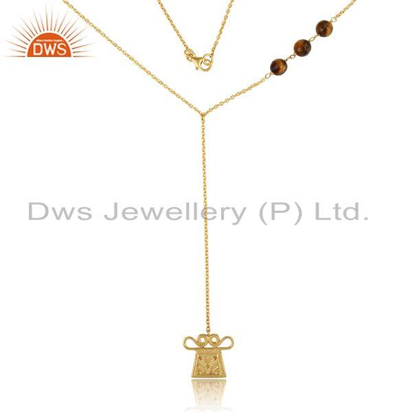 Tiger eye designer charm lariat necklace in yellow gold on silver