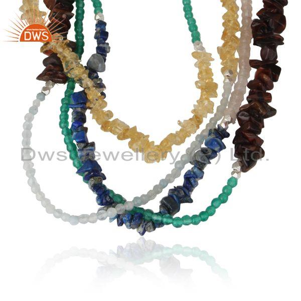 Handcrafted multi layred long necklace in natural multi gemstones