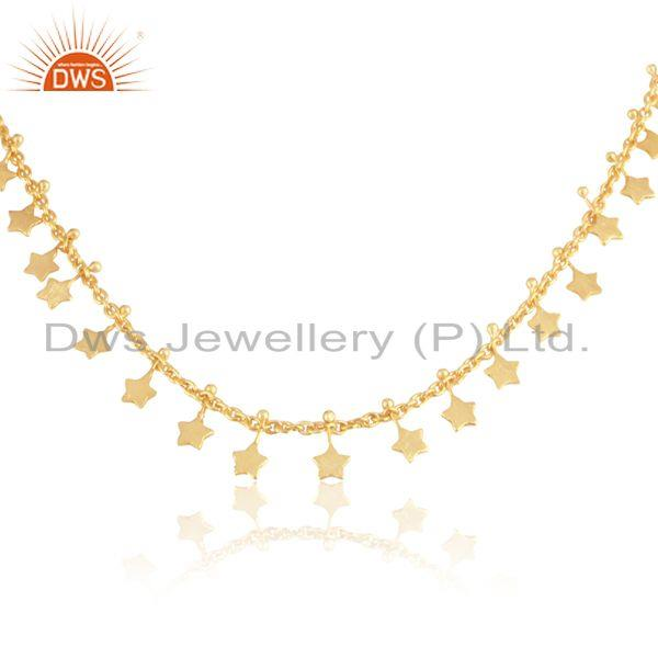 Textured multi star designer necklace in yellow gold on silver 925