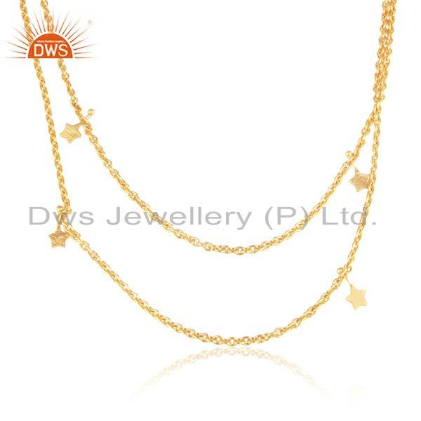 Designer multi star multi row necklace in yellow gold on silver 925
