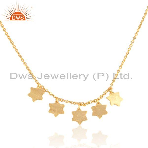 Wholesale Designer Multi Star Necklace in Yellow Gold on Silver 925