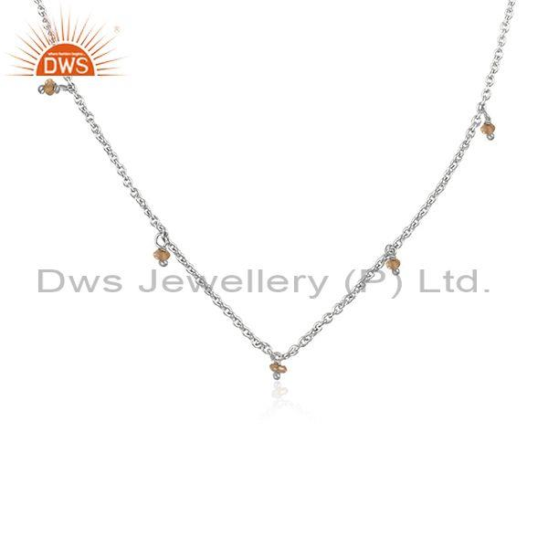Citrine set fine sterling silver classy pendant and necklace