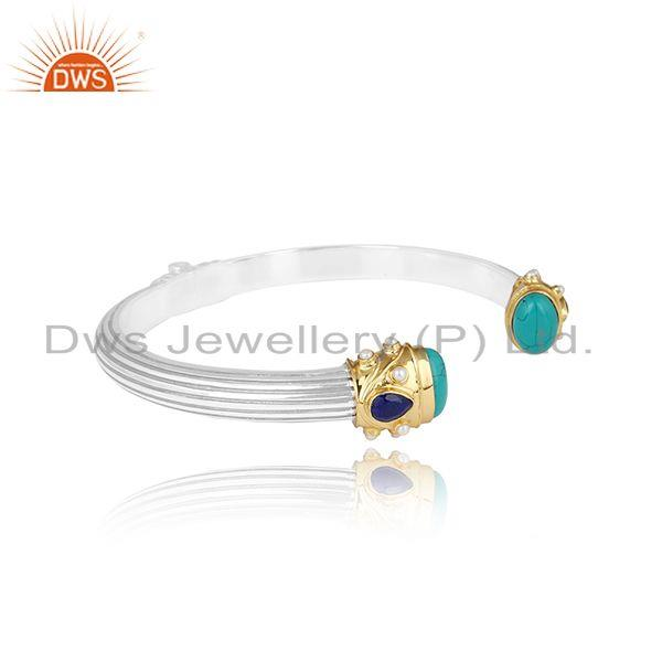 Designer gold on silver chunky choker with lapis, pearl, turquoise