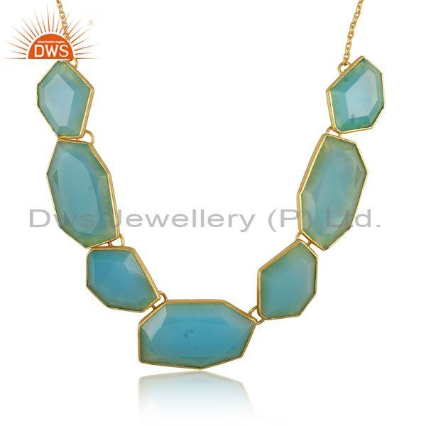 Aqua chalcedony set gold on 925 silver statement necklace