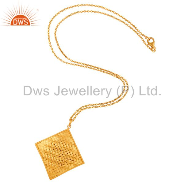 Exporter 18K Yellow Gold Over Solid 925 Sterling Silver Handmade Artisan Pendant