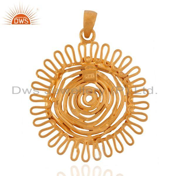 Exporter Handmade Solid 925 Sterling Silver 18k Gold Plated Spiral Pendant Jewelry