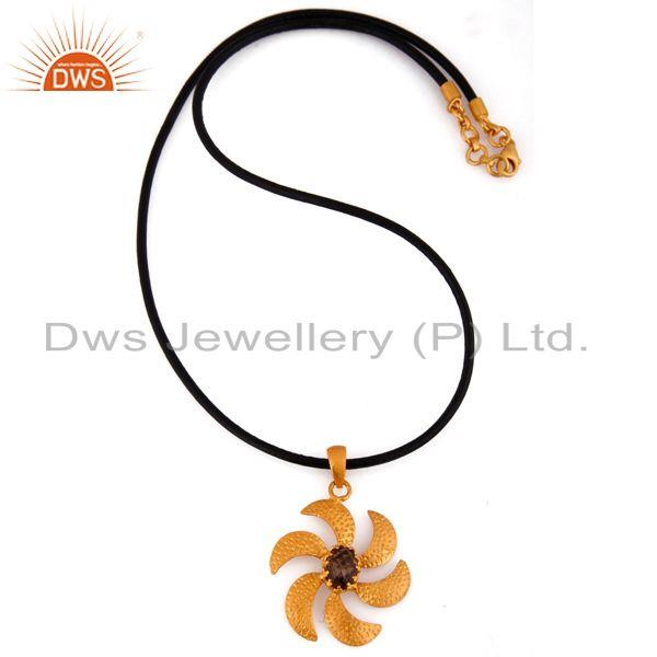 Exporter 18k Yellow Gold Plated 925 Sterling Silver Smokey Quartz Flower Design Pendant