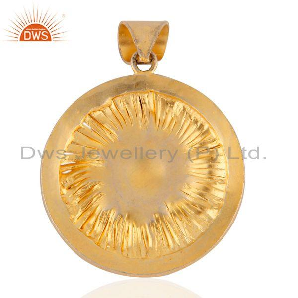 Exporter Handmade Indian Designer 18k Yellow Gold Over 925 Sterling SIlver Pendant