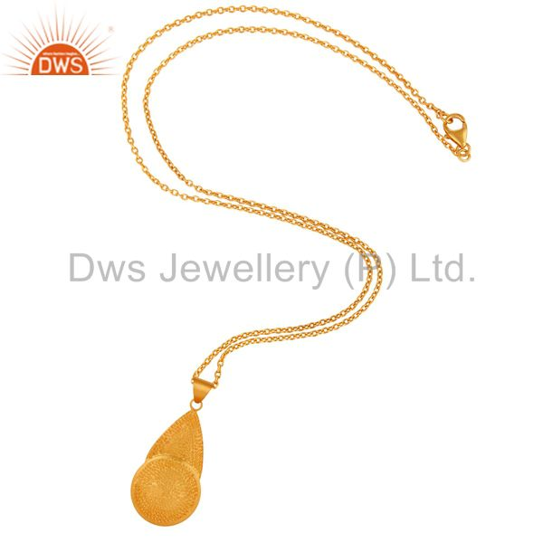 Exporter Handmade Textured 18k Yellow Gold Plated Matte Finish Sterling SIlver Pendant