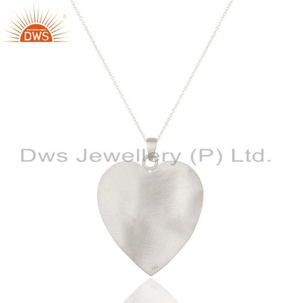 Exporter Solid Textured 925 Sterling Silver Brushed Finish Heart Shaped Pendant Jewelry