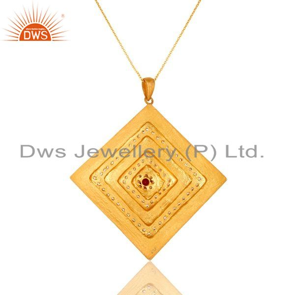 Exporter 24K Gold Plated Sterling SIlver Cubic Zirconia Womens Fashion Pendant With Chain