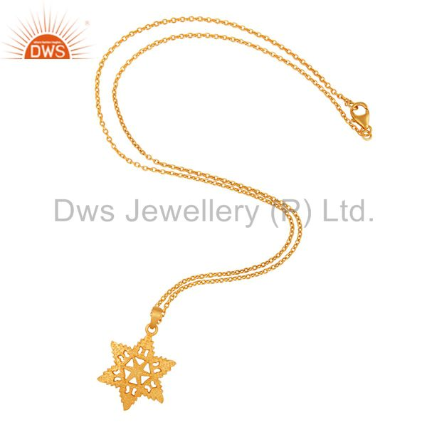 Exporter 24Kt Gold Plated Charm Sterling Silver Star Shape Handmade Jewelry Pendant