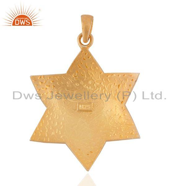 Exporter Leaf Signed Sterling Silver Matte Finish 18k Gold GP Star Shape Pendant Jewelry