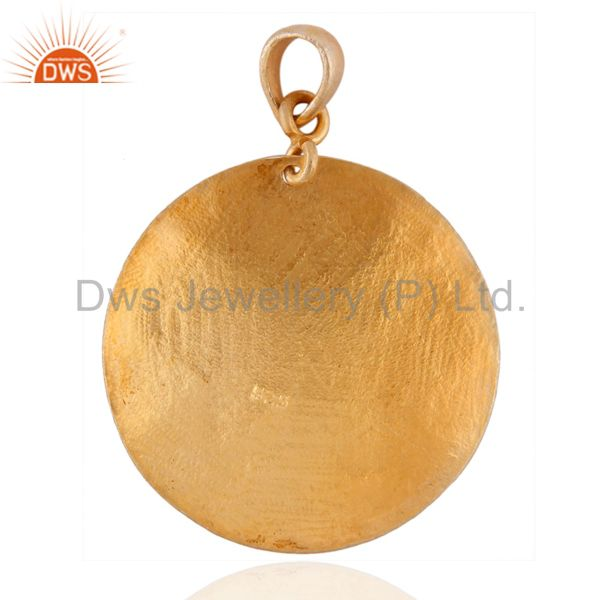 Exporter 24k Gold Over Sterling Silver Hand Hammered Pattern Modern Style Pendant Jewelry