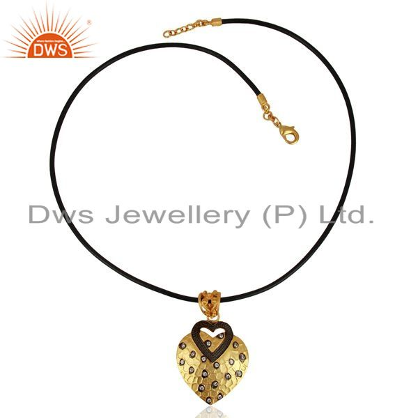 Exporter 14K Yellow Gold Plated Brass Cubic Zirconia Heart Pendant With Cord Necklace