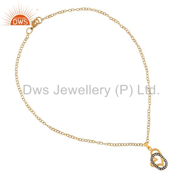 Exporter 18K Yellow Gold Plated White Cubic Zirconia Heart Design Pendant With 16