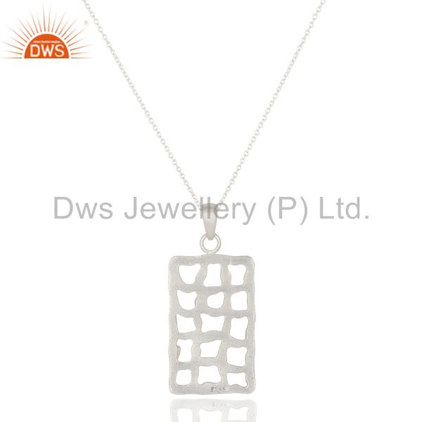 Exporter Handmade Solid 925 Sterling Silver Hammered Design Pendant Chain Necklace
