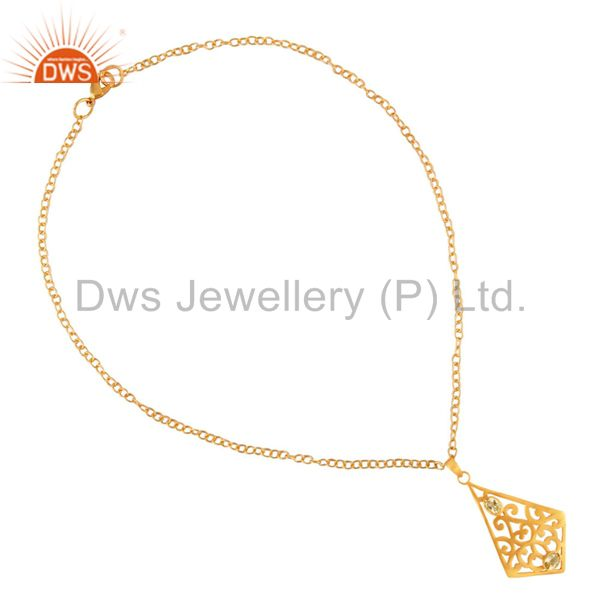 Exporter Genuine Citrine Semi Stone Indian Handmade Filigree Chain Necklace 16