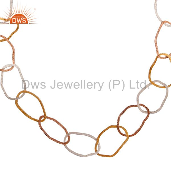 Exporter Hand Hammered Solid 925 Sterling Silver 18k Yellow Gold Plated Necklace
