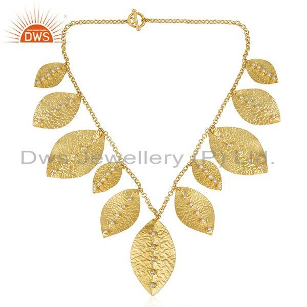 Exporter Handmade Sterling Silver Gold Plated Pearl Leaf Necklace Wholesale