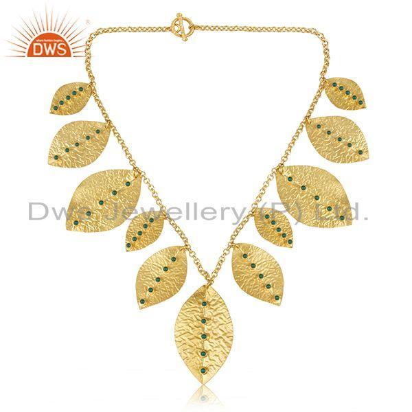 Exporter 18K Yellow Gold Plated Sterling Silver Green Onyx Gemstone Designer Necklace