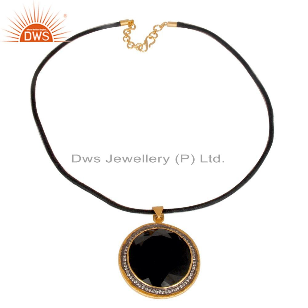 Exporter 18K Yellow Gold Plated Sterling Silver Black Onyx And CZ Fashion Pendant Necklac