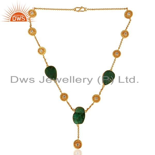 Exporter 22K Yellow Gold Plated Sterling Silver Chrysoprase Gemstone And CZ Necklace