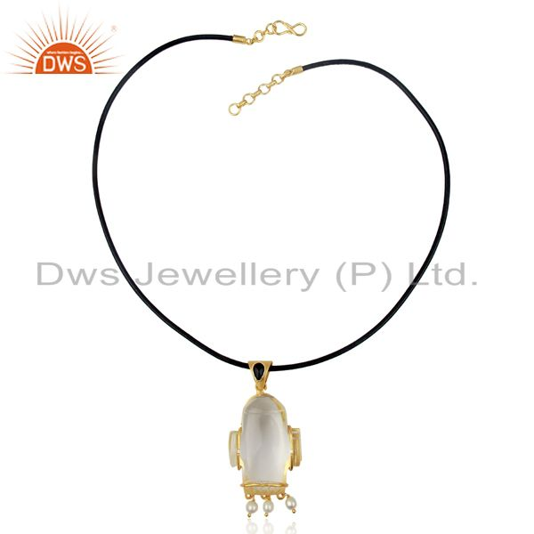 Exporter 22K Gold Plated Sterling Silver Crystal Quartz And Pearl Pendant With Black Cord
