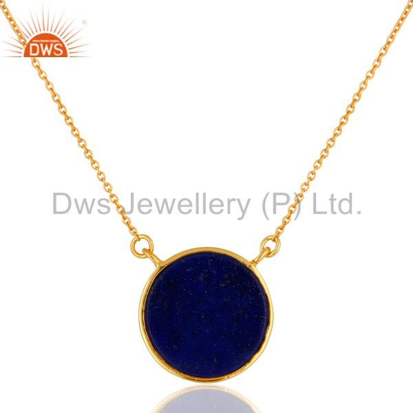 Exporter 18K Yellow Gold Over Brass Lapis Lazuli Gemstone Pendant With Chain
