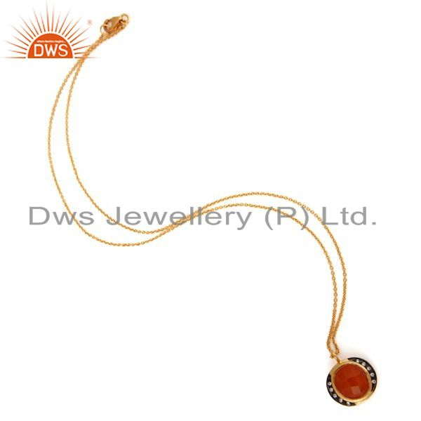 Exporter Handmade 18K Gold Plated Sterling Silver Peach Moonstone Pendant Chain Necklace