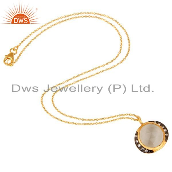 Exporter 22K Yellow Gold Plated Sterling Silver White Moonstone And CZ Pendant Necklace