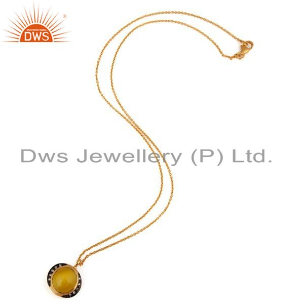 Exporter Yellow Moonstone 24k Gold Plated 925 Silver Fashion Gemstone Pendant Jewelry