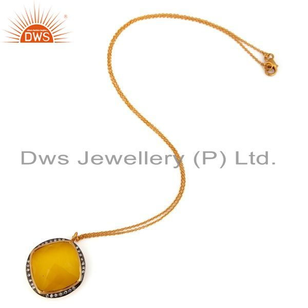 Exporter Handmade Gold Plated Sterling Silver Yellow Moonstone Designer Pendant Jewelry