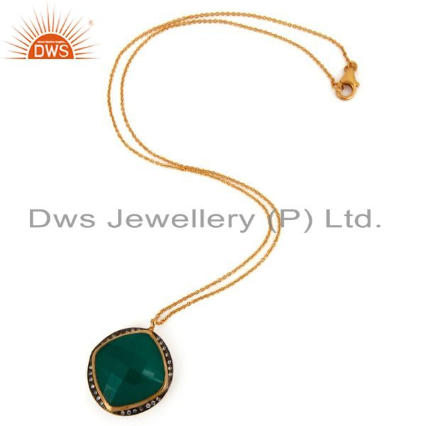 Exporter 18K Gold Plated Natural Green Onyx Gemstone 925 Sterling Silver Pendant Necklac