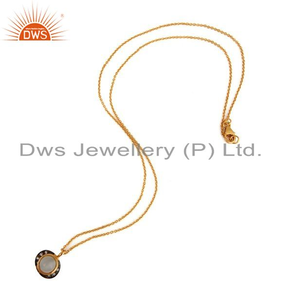 Exporter 18K Gold Plated Sterling Silver White Moonstone And Cubic Zirconia Pendant Chain