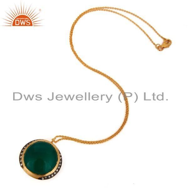Exporter 18K Gold Plated 925 Sterling Silver Green Onyx Gemstone Pendant Necklace
