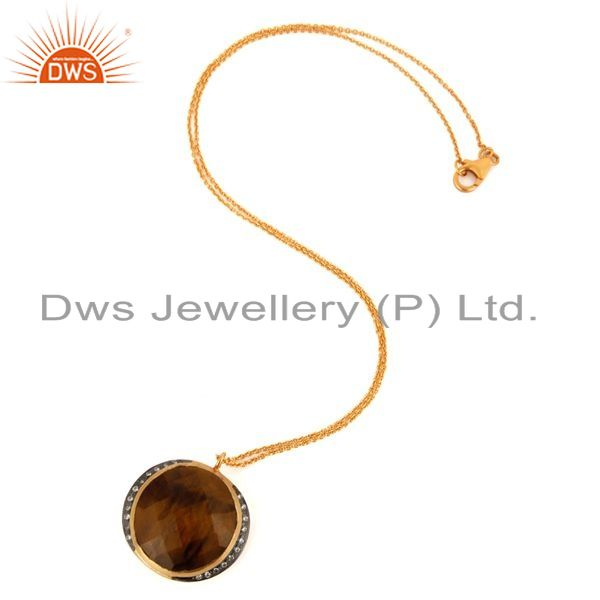 Exporter Natural Tiger Eye Gemstone Gold Plated Sterling Silver 925 Pendant With Chain